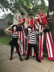 French Mimes and Stilt Walkers